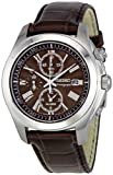 Seiko Gents Sports Chronograph Brown Dial Leather Strap Watch SNAE51P2