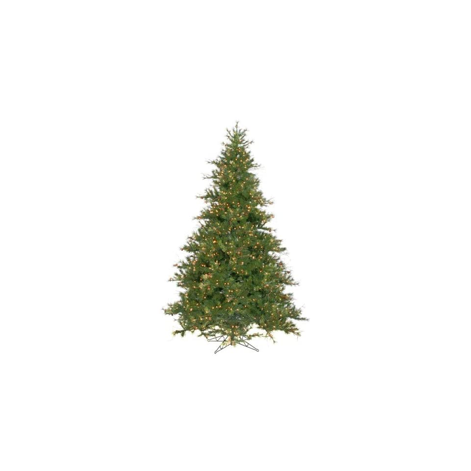 10 Foot, Pre Lit Christmas Tree, Mixed Country, Pine Cones, Clear