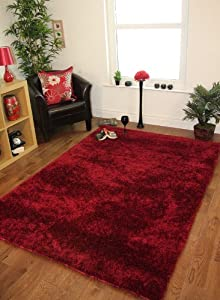 Ribbons Rich Warm Wine Red Modern Plain Quality Shaggy Rugs - 4 Sizes by The Rug House