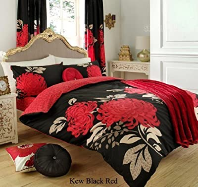 3pc Kew Black & Red King Size Bedding Bed Duvet Cover Quilt Set With Pillowcases