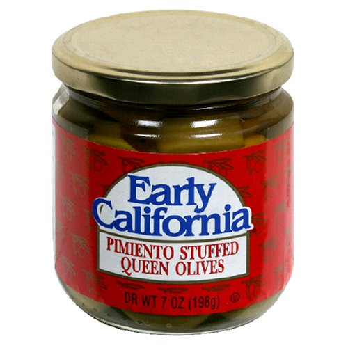 Buy Early California Stuffed Spanish Olives, Queen, 7-Ounce Glass Jars (Pack of 12) (Early California, Health & Personal Care, Products, Food & Snacks, Canned & Packaged Goods, Vegetables, Olives)