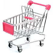 Cute Stainless Steel Mini Supermarket Handcart Shopping Utility Cart Pink Color