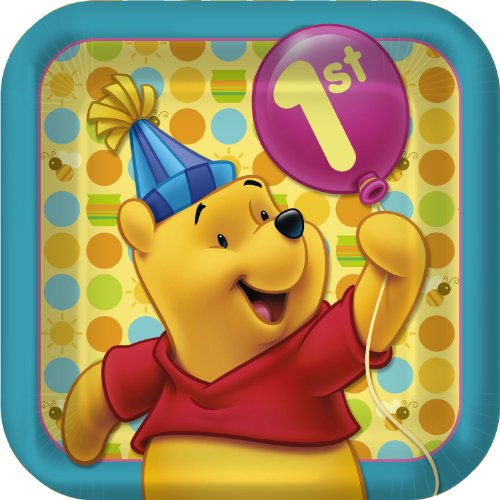 Winnie the Pooh Balloon 1st Birthday Shaped Paper Plates (8ct)*