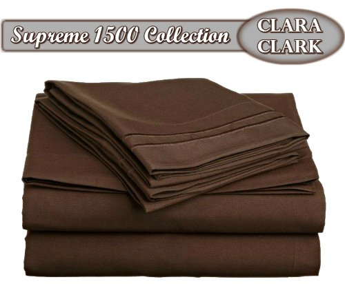 Clara Clark ® Supreme 1500 Collection 4pc Bed Sheet Set - King Size, Chocolate Brown