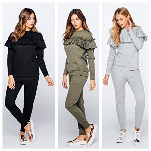 new-womens-ruffle-frill-top-tracksuit-ladies-casual-lounge-bottoms-set-s-8-10-grey
