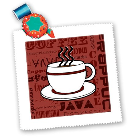 3Drose Qs_58644_1 Coffee Lover Gift Coffee Words Print Red Quilt Square, 10 By 10-Inch front-88575