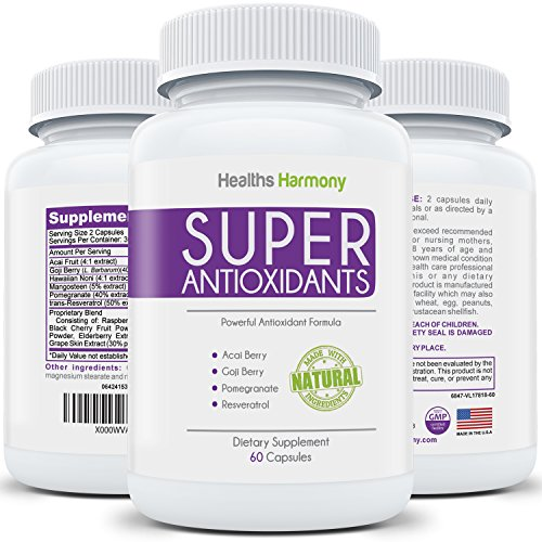 Super Antioxidants Supplement - Powerful Super Food Antioxidant Blend: Acai Berry, Goji Berry, Pomegranate & Trans Resveratrol - Natural Herbal & Fruit Formula For Skin Care, Made in USA: 60