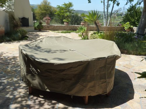 Patio Set Cover 104Dia Fits square Oval or Round table set Center hole for U