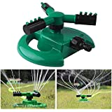Generic Army Green : 360 Degree Fully Circle Rotating Water Sprinkler 3 Nozzles Garden Pipe Hose Irrigation System...