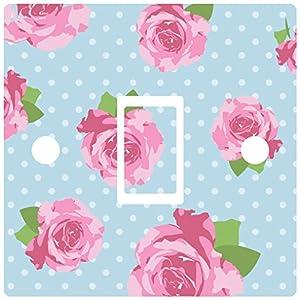 Blue Shabby Chic Rose Light Switch Sticker vinyl cover skin