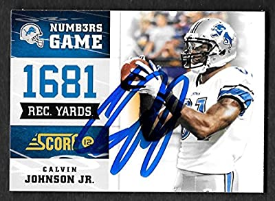 Calvin Johnson Detroit Lions Autographed Signed 2012 Score Panini Card #1 - COA - Mint Condition