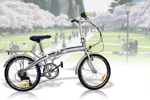 "New 20"" Folding Bicycle SHIMANO 6 Speed Bike Fold Storage Silver"