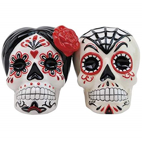 DOD Magnetic Sugar Skull Ceramic Salt and Pepper Shakers