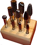 "Kodiak 10 Piece Carbide Bur Set USA Made Burs - Assorted Carbide Burrs on 1/4"" Shanks"
