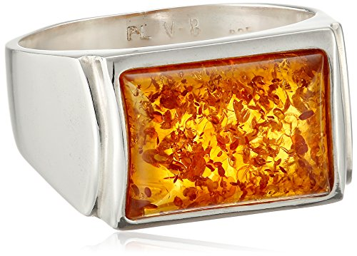 Men's Sterling Silver Honey Amber Rectangular Large Ring, Size 11