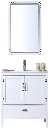 "Legion Furniture WH5730-W Wood Sink Vanity With Ceramic Top and Without Faucet, 30"", Matt White"