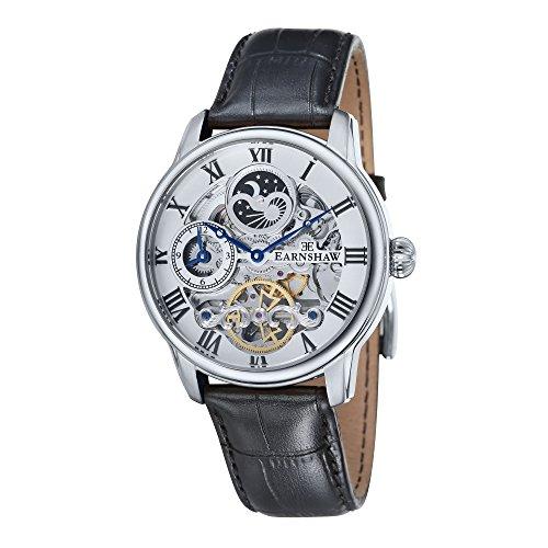 Montre Longitude pour homme Thomas Earnshaw avec cadran blanc analogique et bracelet en cuir noir - ES-8006-01