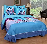 BeautifulHOMES She Cotton Double Bedsheet With 2 Pillow Cover - Blue and Grey