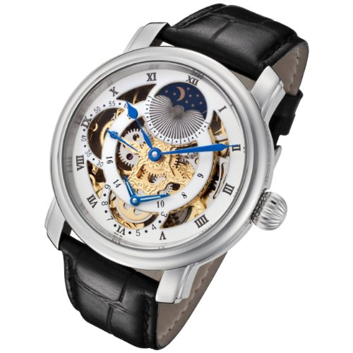 Rougois Silver Case and Gold Movement Dual Time Zone with White Accents and Moonphase Display with Brown Leather Band
