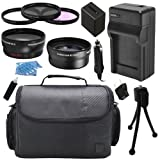 Camcorder Video Camera Semi Professional Accessory Kit includes High Capacity BP-820 BP820 Replacement Battery with Car/International Charger + Padded Carrying Case + 58mm 0.43x High Definition AF Wide Angle Lens + 58mm 2.2x AF Telephoto Lens + 58mm Multi Coated HD 3 Pc. Digital Filter Set + More for Canon VIXIA LEGRIA HFG10 HFG20 HFG30 HFS10 HFS11 HFS20 HFS21 HFS30 HFS100 HFS200 XA10 XA20 XA25 HF G10 G20 G30 S10 S11 S20 S21 S30 S100 S200