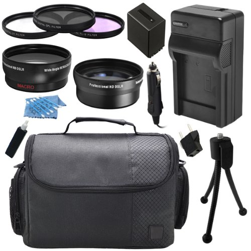 Camcorder Video Camera Semi Professional Accessory Kit Includes High Capacity Bp-820 Bp820 Replacement Battery With Car/International Charger + Padded Carrying Case + 58Mm 0.43X High Definition Af Wide Angle Lens + 58Mm 2.2X Af Telephoto Lens + 58Mm Multi