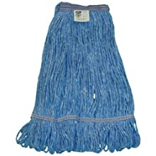 "Zephyr Blendup Blue Blended Natural and Synthetic Fibers  Loop Mop Head with 1-1/4"" Narrow Headbands (Pack of 12)"