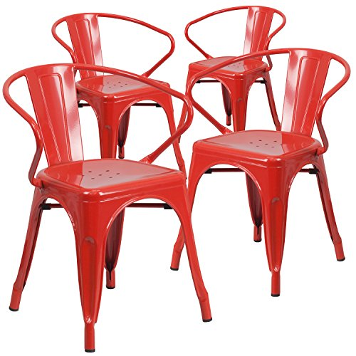 4 pk red metal indoor outdoor chair with arms furniture for Red metal patio furniture