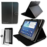 Black PU Leather Case Cover Stand for CAMBRIDGE SCIENCES StarPAD 7SE 7'' 7 INCH ANDROID TABLET PC + Screen Protector + Stylus Pen
