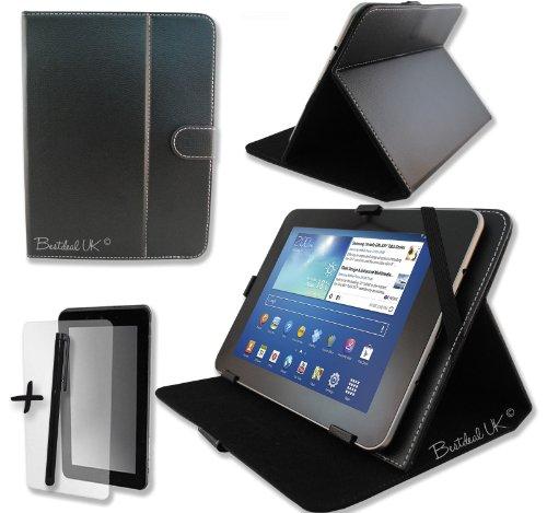 """Schwarz PU Lederner Tasche Case Hülle für Modecom FreeTAB 9706 IPS2 X4+ 9.7"""" Zoll Inch Tablet-PC + Bildschirmschutzfolie + Stylus Stift"""