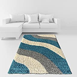 Soft Shag Area Rug 5x7 Geometric Striped Turquoise Grey Shaggy Rug - Contemporary Area Rugs for Living Room Bedroom Kitchen Decorative Modern Shaggy Rugs