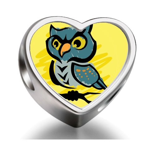 Soufeel Halloween Eule auf Ast Heart Photo Charm Beads