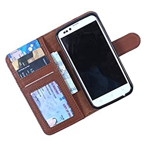 Dooda Genuine Leather Wallet Flip Case For Lenovo P770 (TAN BROWN)