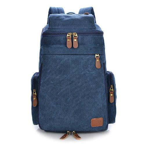 Big Mango Big Capacity Canvas Hiking Backpack Schoolbag Travel Backpack for College Laptop Rucksack - Navy Blue