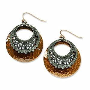 Copper-tone and Black-plated Dangle Earrings