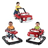 Bright Starts 3 Ways to Play Adjustable Portable Baby Walker for Boys (Red)