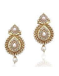 Adiva Multi-Colour Fine Golden Finish & Exquisite Cut Work Pear Polki Copper Dangle & Drop Earrings For Women
