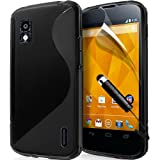 LG Nexus 4 E960 Wave Hydro Gel Case Cover includes High capacitive Touch screen Stylus - Black