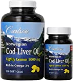 Carlson Labs Carlson Laboratories Bonus Pack Cod Liver Oil Softgels, 1000 mg, Lemon Flavor, 180 Count