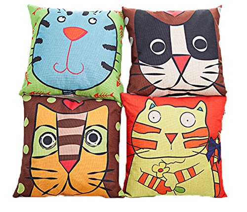 Lakiss Cotton Linen Decorative Throw Pillow Cover Cushion Pillow Case,Set of 4