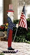 Uncle Sam Patriotic Outdoor Flag Holder Greeter