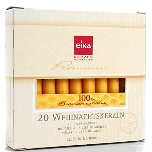 40 Stück Baumkerzen 100% Bienenwachs Christbaumkerzen 2 Packungen á 20 Stk.