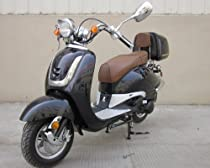 Roketa MC-16K-50 BLACK Gas 4 Stroke 49cc Moped Scooter w/ Trunk