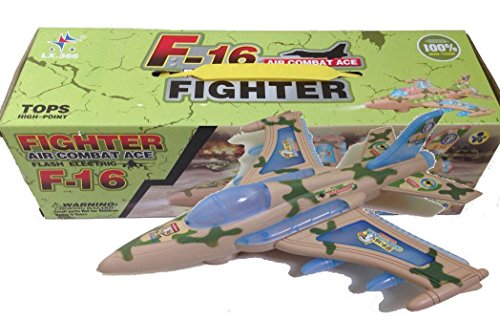 F16 Military Fighter Jet Bump & Go Action Airplane Toy with Flashing Lights & Sounds