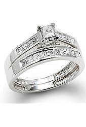 1.00 Carat (ctw) 14k White Gold Princess Diamond Ladies Bridal Ring Engagement Set 1 CT