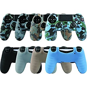 LZETC Silicone PS4 Controller Skin, Design of Water Transfer Printing Skin Protector Cover Case for Sony PlayStation 4 Controller with Matching Thumb Grips, Set of 4