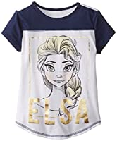 Disney Big Girls' Frozen Elsa Jersey Colorblock Baseball Tee with Cover Stitch