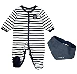 Timberland Boys Striped velvet sleepsuit Babygrow with a navy oxford scarf
