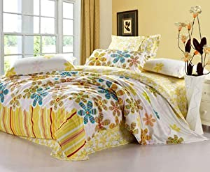 Blue and yellow flower pattern queen size - Yellow and blue bedding queen ...