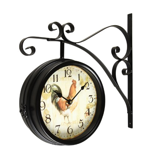 Adeco CK0001 Antique Vintage Decorative Round Iron Double Wall Clock Rooster- Home Decor