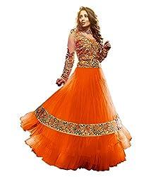 Fabian Fashion Orange Net Semi-Stiched Dress